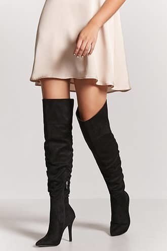 Ruched Faux Suede Thigh-High Boots