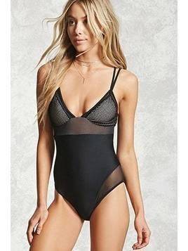 Mesh-Paneled One-Piece