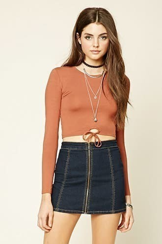 Circle Tie-Waist Cutout Top