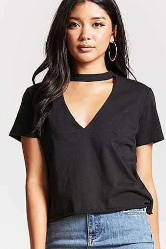 Plunging Cutout Neck Tee