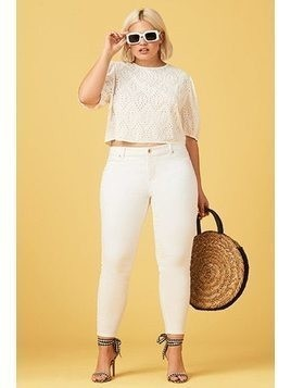 Plus Size Semi-Sheer Eyelet Crop Top