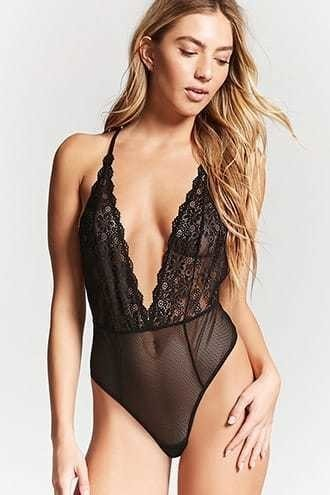 Sheer Lace&Mesh Bodysuit