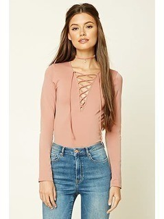Long-Sleeve Lace-Up Top