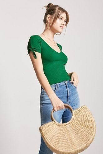 Ribbed Knotted-Sleeve Top