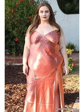 Plus Size Satin Maxi Dress