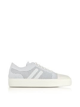 Off White Perforated Fabric and Nappa Leather Skateboard Sneakers