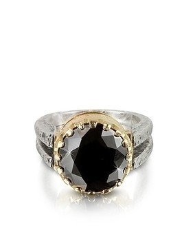 Black Cubic Zirconia Sterling Silver&Rose Gold Ring
