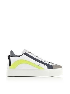 White Blue and Neon Yellow Maxi Sole Men's Sneakers