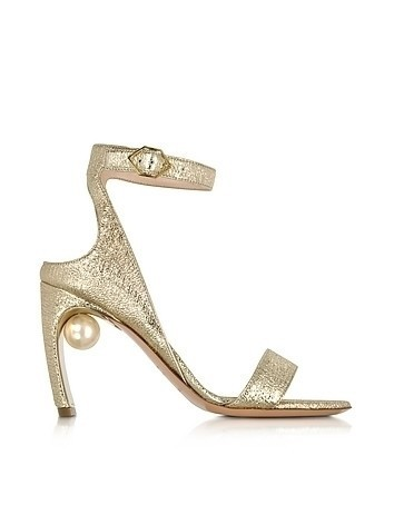 Crinkly Metallic Leather 90mm Lola Pearl Sandals