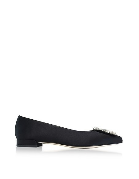 Fetching Black Satin Pointed Toe Flat Ballerinas w/Crystals