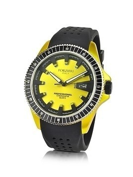 Yellow Aluminum Case Watch w/Rubber Strap