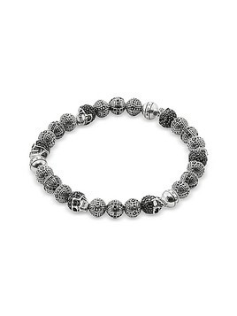 Blackened 925 Sterling Silver Cross and Skulls Bracelet w/Zirconia