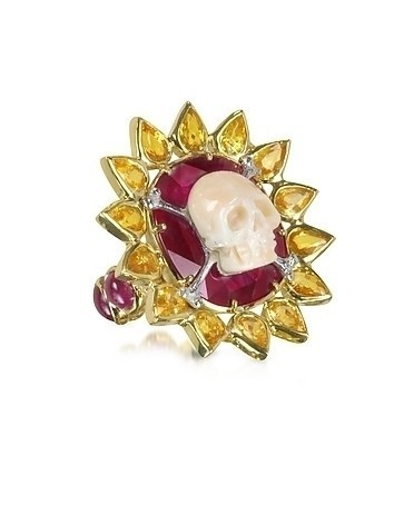 Gold Ruby and Yellow Sapphires Skull Bone Ring
