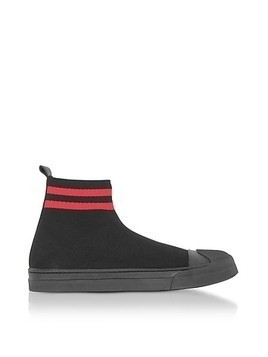 Black/Red Tech Knit Fabric Skater Boots