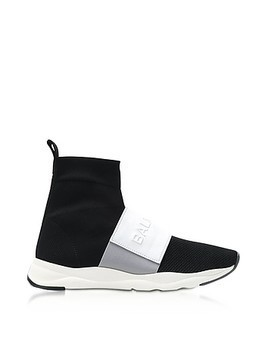 Black&White Nylon and Leather Cameron Running Men's Sneakers