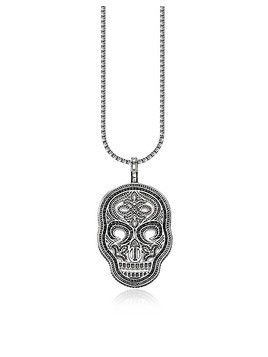 Blackened 925 Sterling Silver and Zirconia Pave Necklace w/Skull Pendant