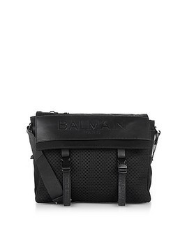 Black Nylon Men's Messenger Bag w/Embossed Signature Logo