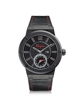 F-80 Motion Black IP Stainless Steel Men's Watch w/Black Croco Embossed and Rubber Strap