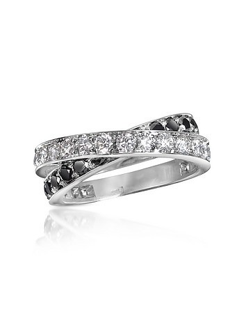 Black & White Diamond Crossover 18K Gold Ring