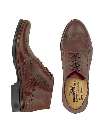 Burgundy Handmade Italian Leather Wingtip Ankle Boots
