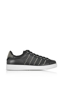 Black Leather Men's Sneakers w/Studs