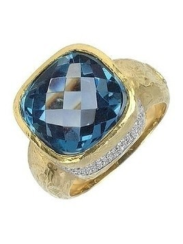 Stefy - Topaz and Diamonds Yellow Gold Ring