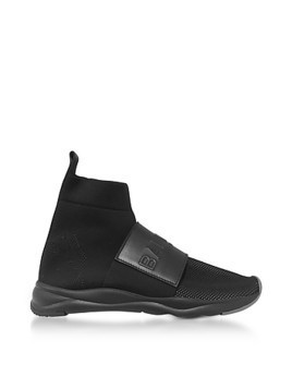 Black Nylon and Leather Cameron Running Men's Sneakers
