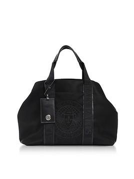 Black Nylon Men's Tote Bag