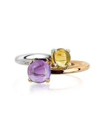 Amethyst and Citrine Quartz 18K Rose & White Gold