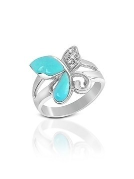 Diamond and Turquoise Butterfly 18K Gold Ring