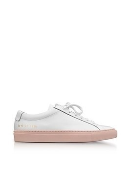 White Leather Achilles Low Top Men's Sneakers w/Blush Rubber Sole