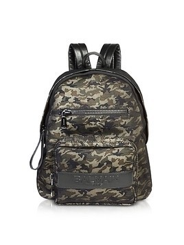 Military Green/Black Camouflage Nylon Men's Club Backpack w/Embossed Signature Logo