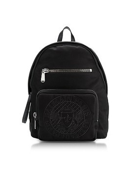 Black Nylon Men's Club Backpack w/Embossed Blazon