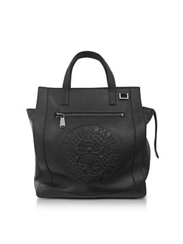 Black Smooth Leather Men's Square Tote Bag w/Embossed Blazon