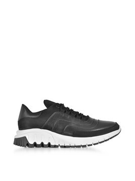 Black Leather and Nubuck Urban Runner