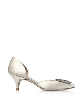 Firedance Ivory Satin Pointed Toe Kitten Heel Pumps w/Crystals