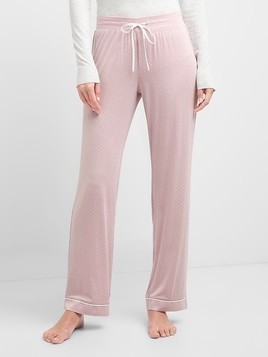 Gap Pure Body Lightweight Sleep Pants - Pale plum dots