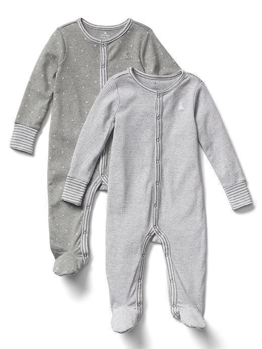 Gap Favorite Stripe Footed One Piece (2 Pack) - Light heather grey
