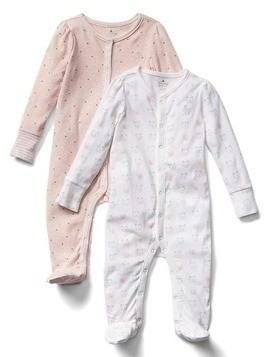 Gap Favorite Bear Footed One Piece (2 Pack) - Pink heather