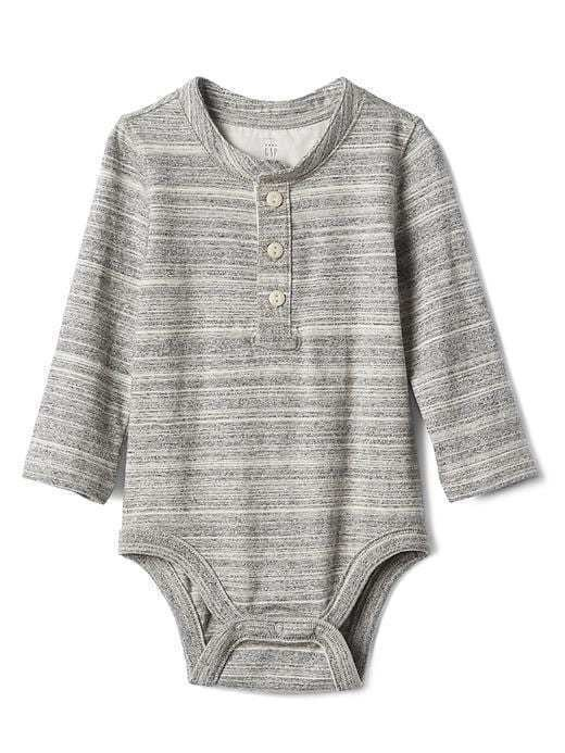 Gap Long Sleeve Henley Bodysuit - Grey heather