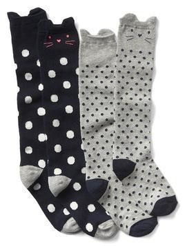 Gap Dotty Cat Over The Knee Socks (2 Pack) - Blue galaxy