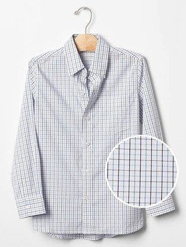 Gap Non Iron Checkered Poplin Shirt - Blue plaid