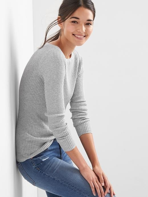 Gap Ribbed Boatneck Pullover - Heather grey