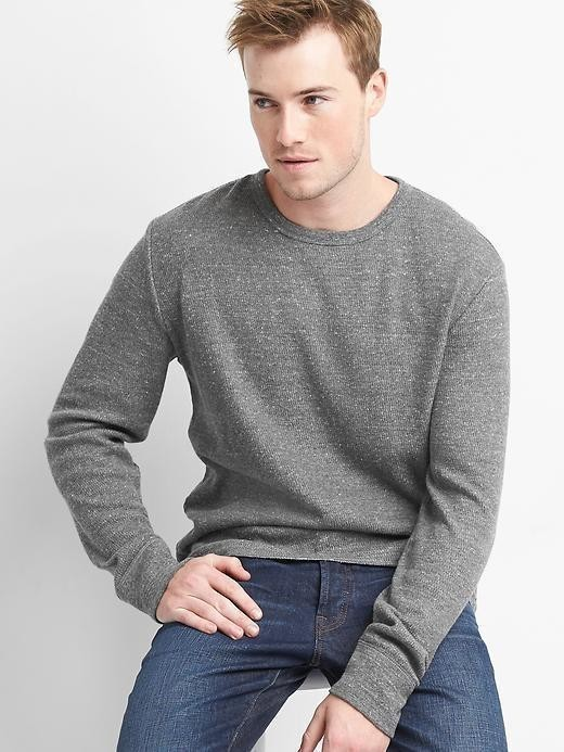 Gap Waffle Knit Crewneck Tee - Dark charcoal heather