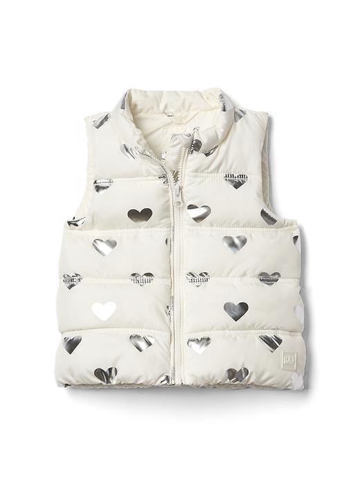 Gap Print Puffer Vest - Gray heather/white
