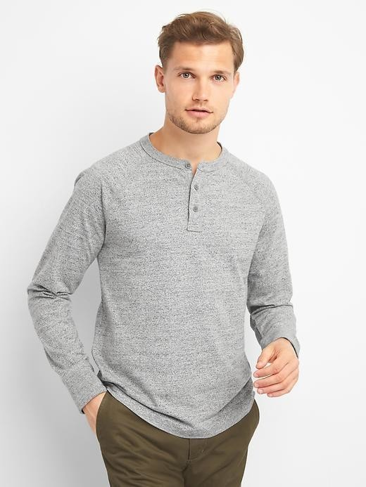 Gap Long Sleeve Marled Henley - Heather grey
