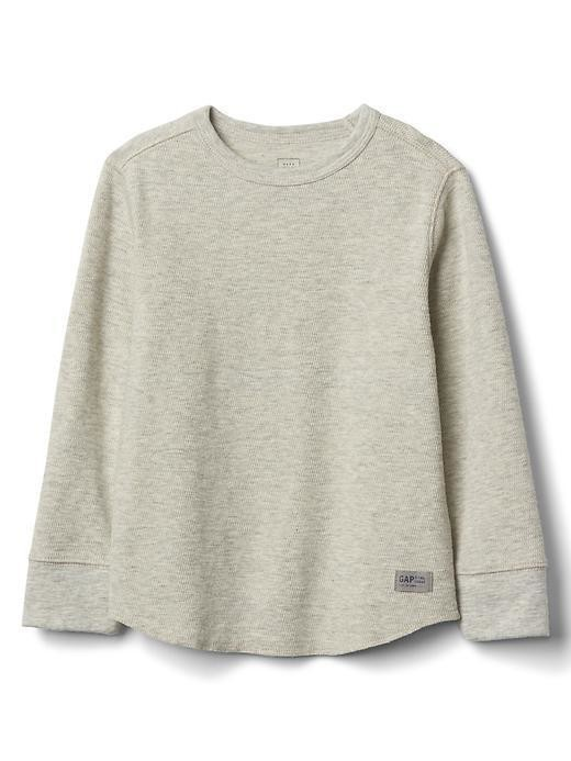 Gap Long Sleeve Waffle Tee - Oatmeal grey