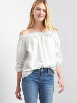 Gap Poplin Off Shoulder Top - White