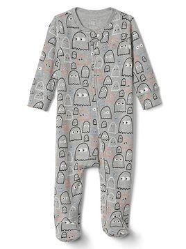 Gap Halloween Ghost Footed One Piece - Light heather grey b08