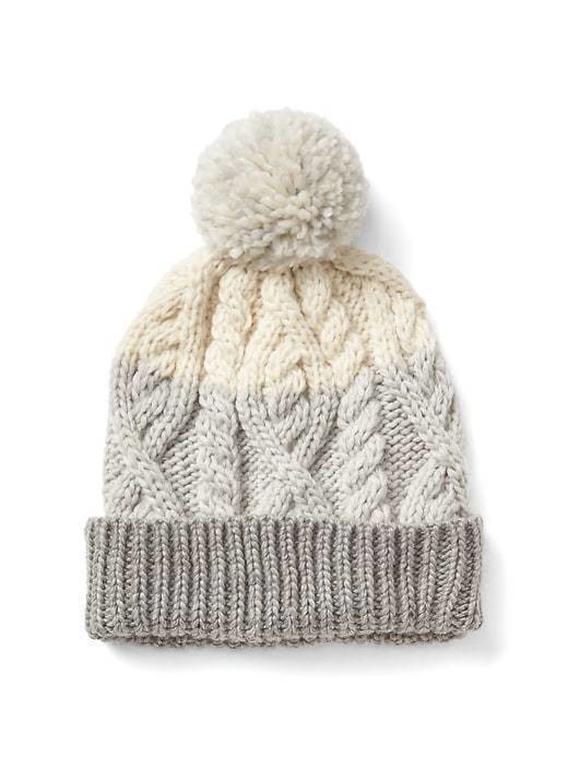 Gap Cable Knit Pom Beanie - Neutral colorblock